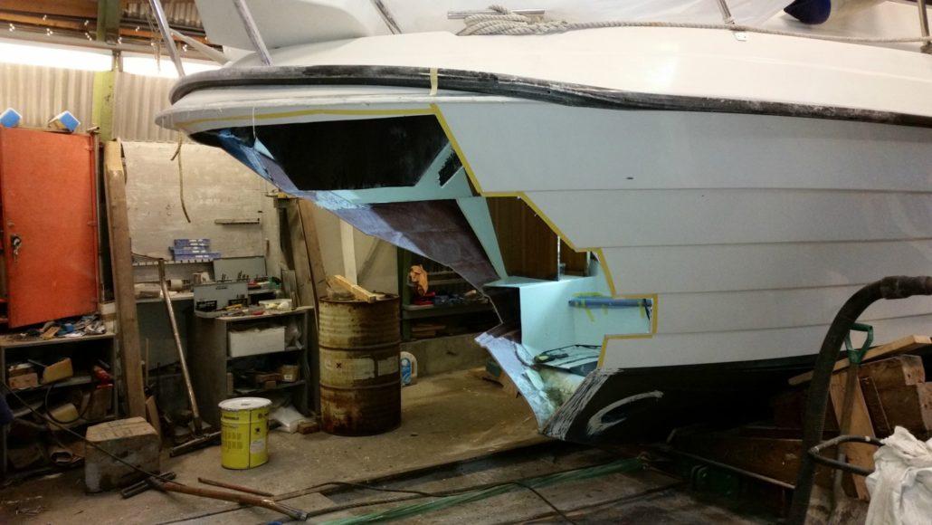 Seljestokken båtverksted reparerer skadd skrog
